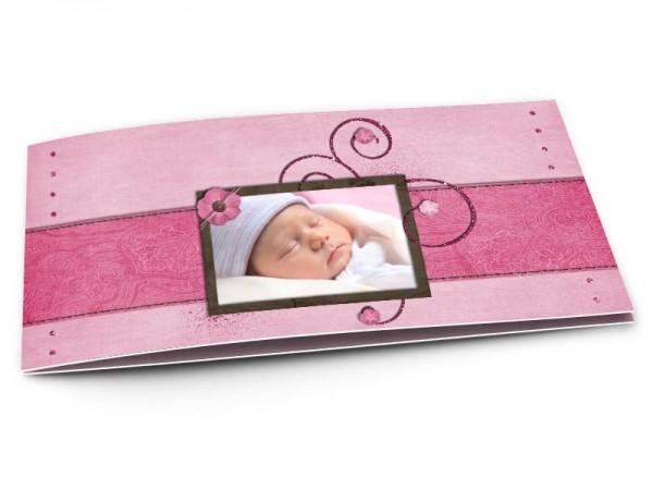 Faire-part naissance - Ornements à paillettes sur fond rose