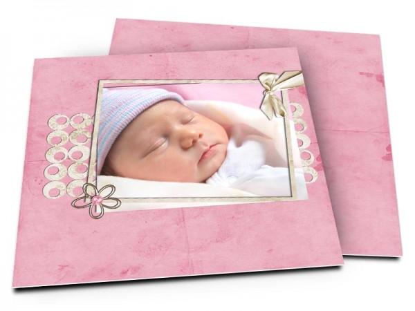 Faire-part naissance - Frise de formes rondes posée sur fond rose