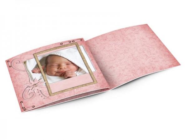 Faire-part naissance - Fleur rose et ornements