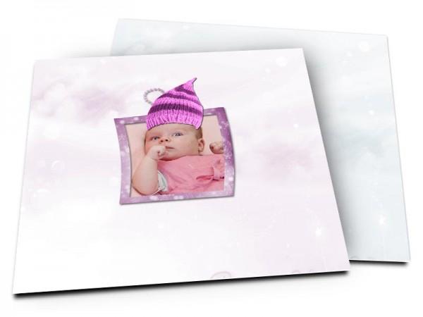 Faire-part naissance - Le bonnet rose