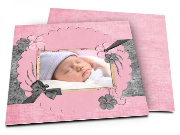 Faire-part naissance - Coeur rose pailleté