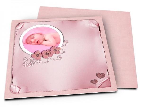 Faire-part naissance - Noir et rose à paillettes