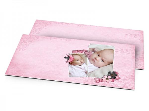Faire-part naissance - Fine dentelle et tissu rayé
