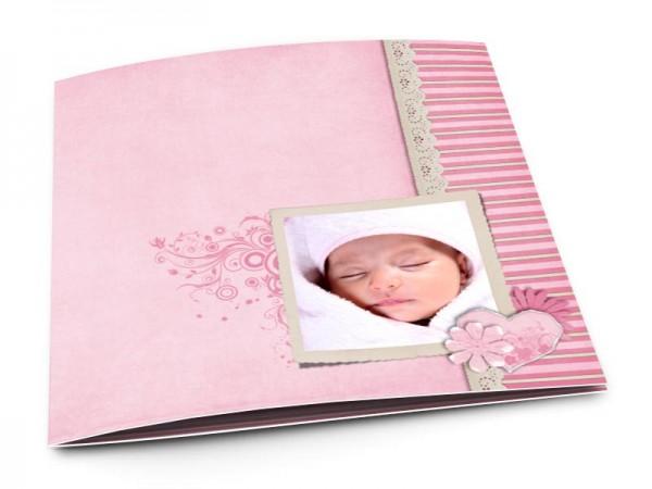 Faire-part naissance - Superposition de rose