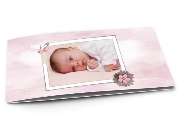 Faire-part naissance - Trois petites fleurs roses