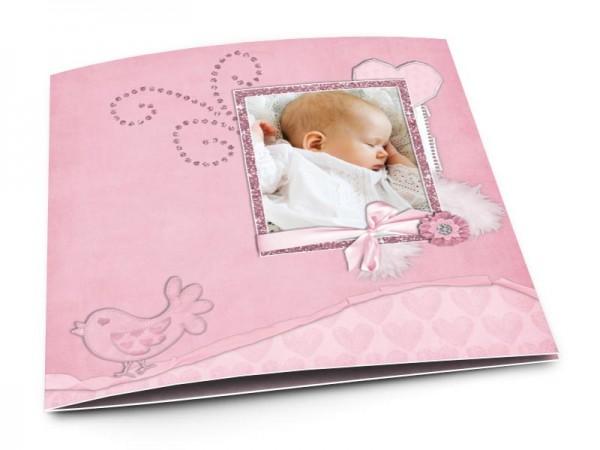 Faire-part naissance - Oiseau rose sur liseré noir
