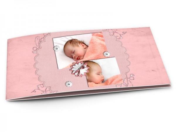 Faire-part naissance - Le triptyque à la fleur