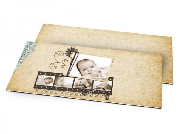 Faire-part naissance - Ivoire dentelle et pellicule photo