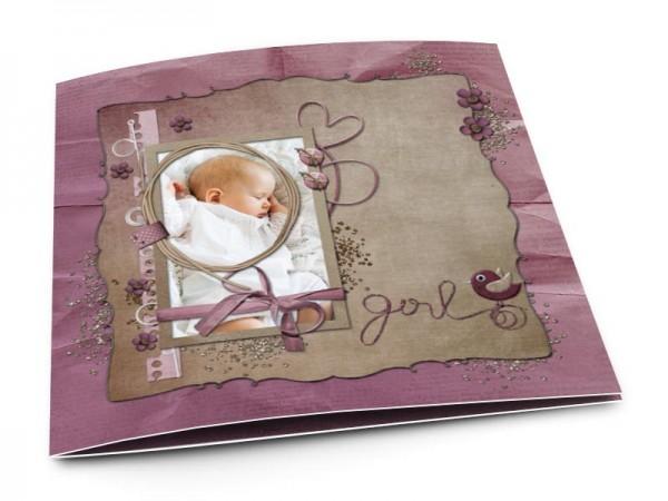 Faire-part naissance - Fille pourpre