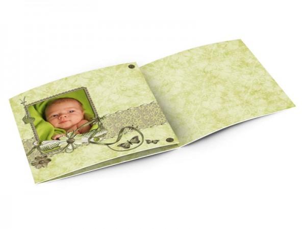 Faire-part naissance - Dentelle verte et papillons