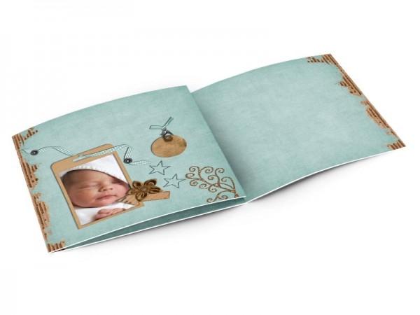 Faire-part naissance - Médaillon marron et fond bleu