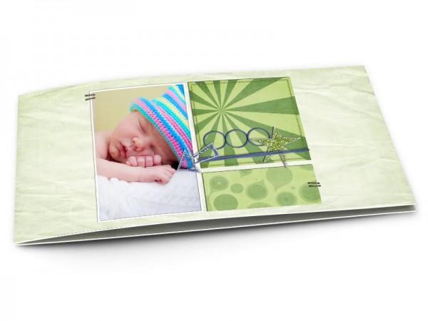 Faire-part naissance - Font vert, effet papier froissé