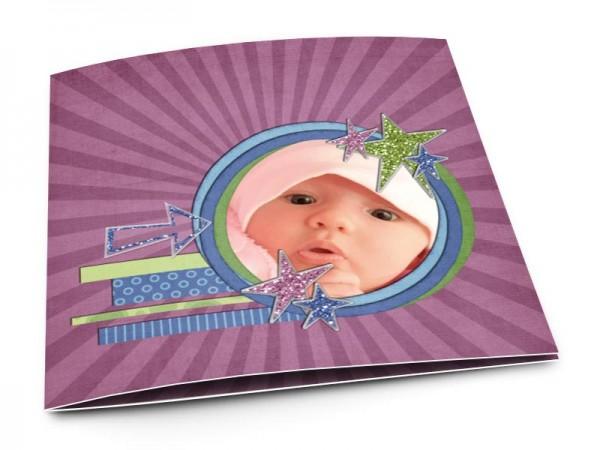 Faire-part naissance - Étoiles colorées