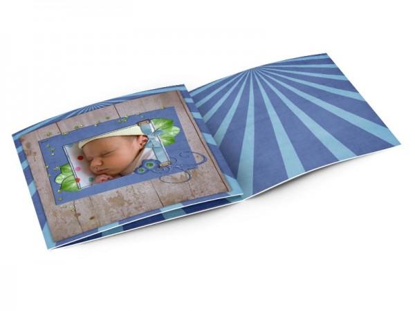 Faire-part naissance - Bois et rayures bleues