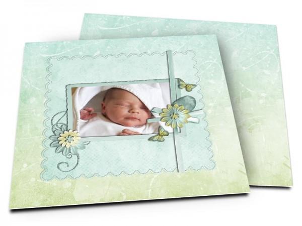 Faire-part naissance - Turquoise et vert pâle