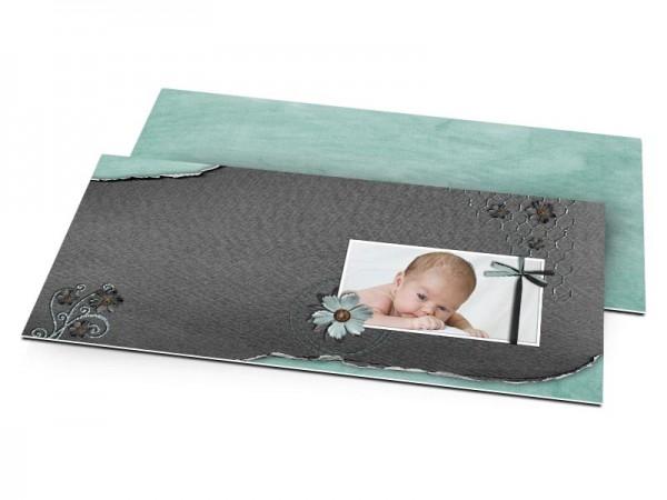 Faire-part naissance - Ruban noir et fleur turquoise