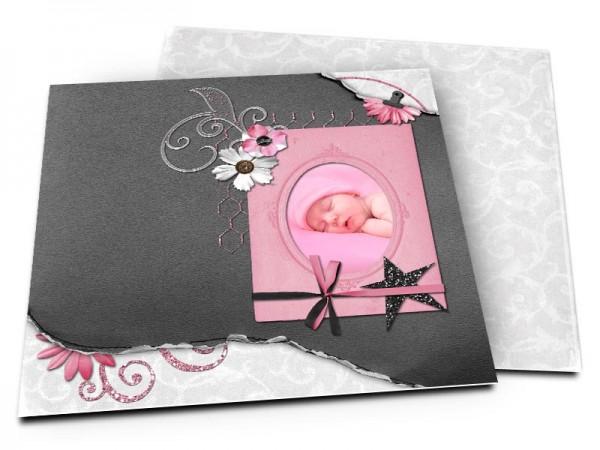 Faire-part naissance - Noir, rose et gris