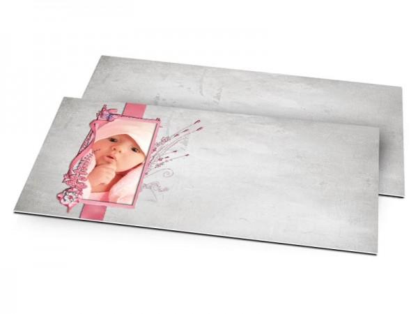 Faire-part naissance - Roseaux roses sur fond gris