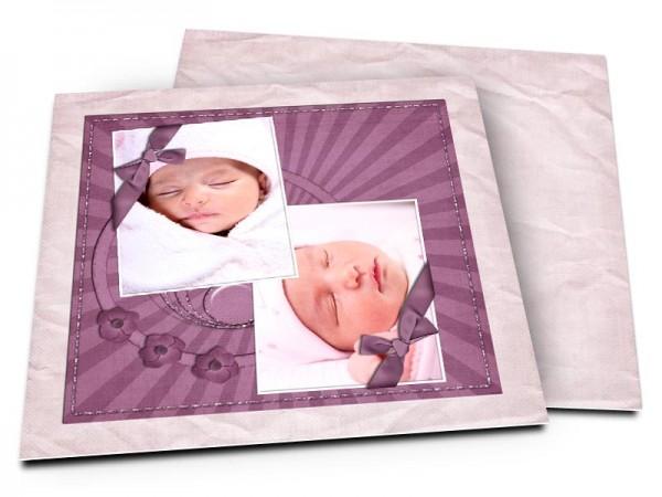 Faire-part naissance - Deux photos, deux rubans violet