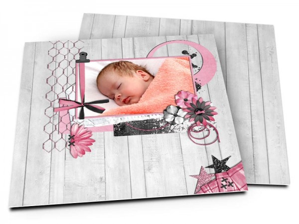 Faire-part naissance - Bois gris et ruban rose