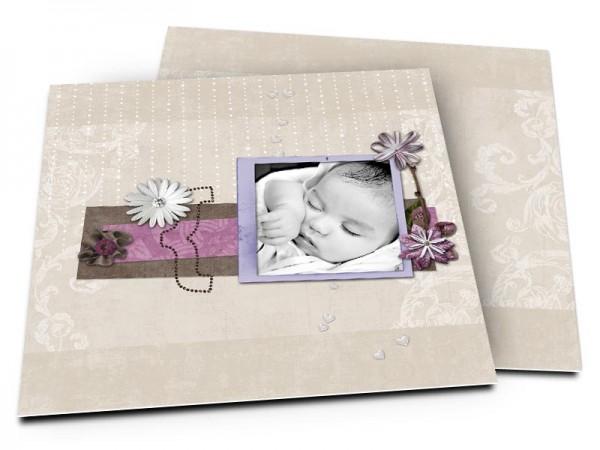 Faire-part naissance - Fleurs et pluie de perles