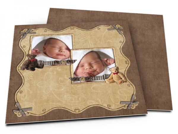 Faire-part naissance - Deux photos, deux nounours
