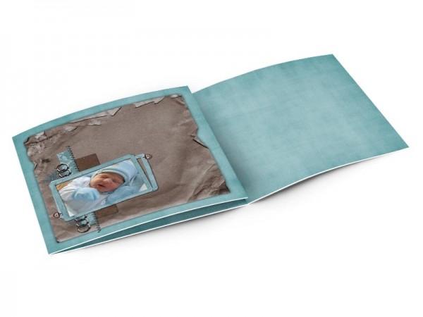 Faire-part naissance - Marron et bleu, effet parchemin