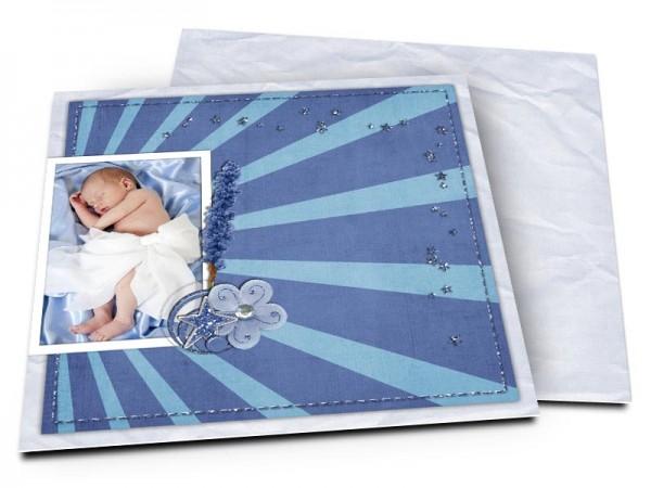 Faire-part naissance - Étoiles bleues