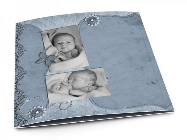 Faire-part naissance - Dentelle, fleurs et rubans bleus