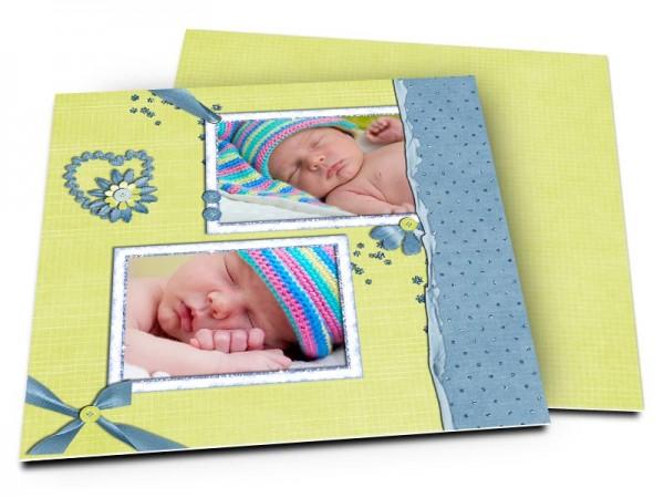 Faire-part naissance - Deux cadres sur fond vert