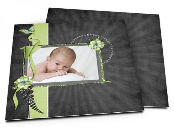 Faire-part naissance - Fond noir et bandeau vert