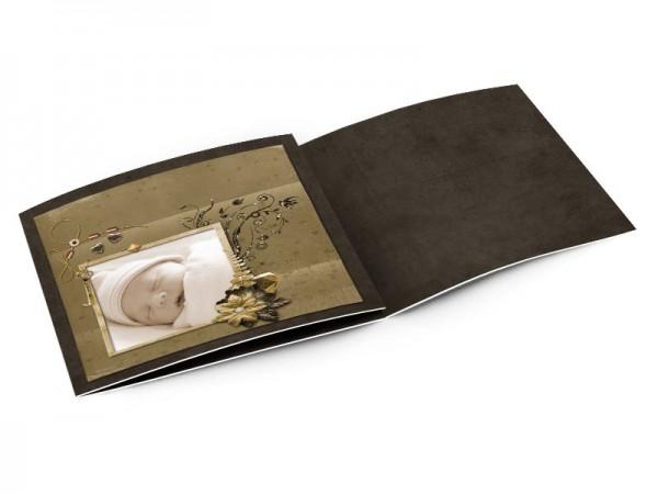 Faire-part naissance - Feuille d'or sur fond chocolat
