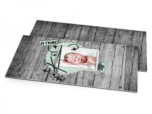 Faire-part naissance - Bois gris et motifs turquoises