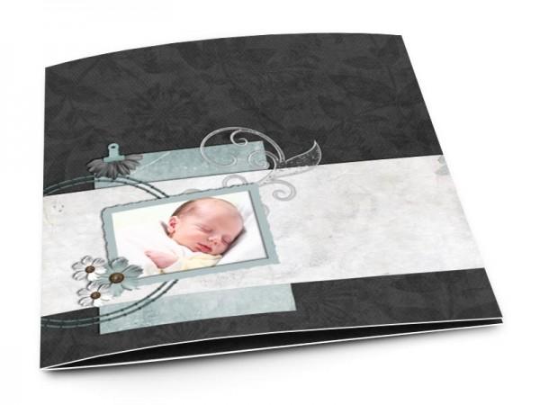 Faire-part naissance - Bandeau gris et fond noir