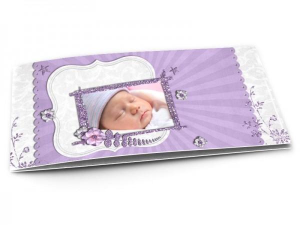 Faire-part naissance - Paillettes et fleurs violettes