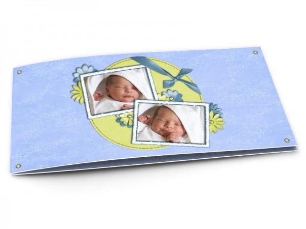 Faire-part naissance - Fleurs vertes et fleurs bleues
