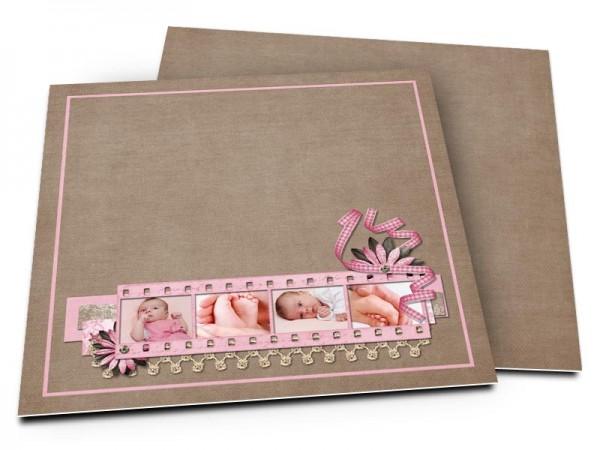Faire-part naissance - Pellicule photo rose et dentelle