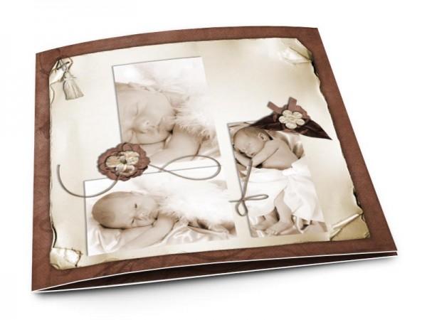 Faire-part naissance - Fleurs marron et rubans