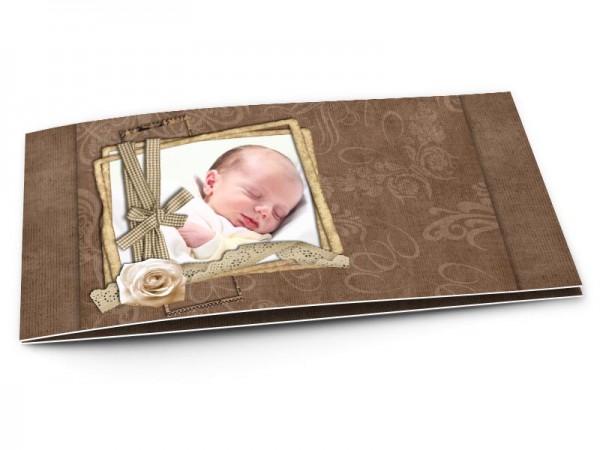 Faire-part naissance - Rose blanche et dentelle sur fond marron