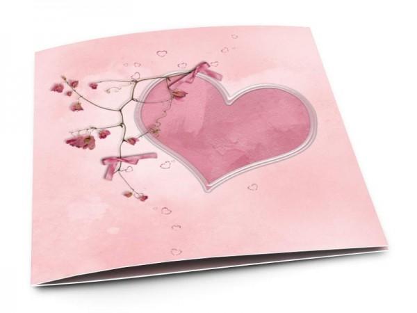 Faire-part naissance - Coeur rose et liane fleurie