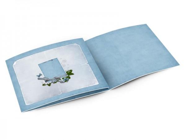 Faire-part naissance - Carré bleu