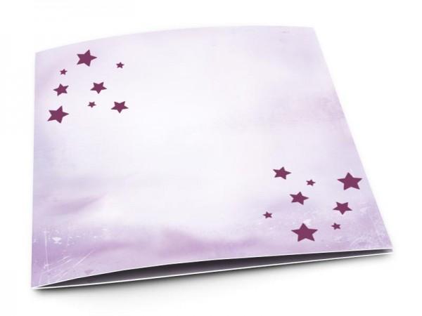 Faire-part naissance - Étoiles violettes