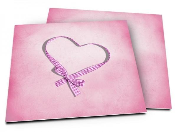 Faire-part naissance - Coeur de ruban rose