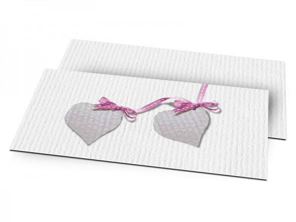 Faire-part naissance - Deux coeurs liés par un ruban rose