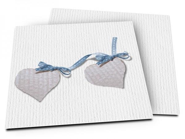 Faire-part naissance - Deux coeurs liés par un ruban bleu