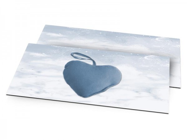 Faire-part naissance - Coeur moelleux posé sur les nuages – modèle garçon