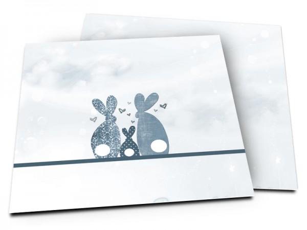 Faire-part naissance - La famille lapin – modèle garçon