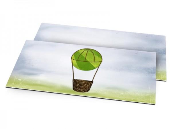 Faire-part naissance - La montgolfière verte