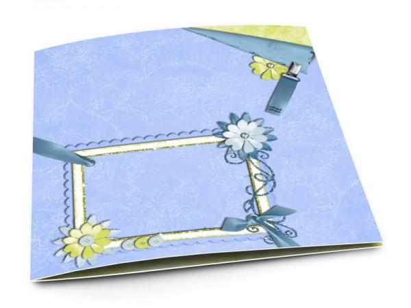 Faire-part naissance - Fleurs vertes et bleues