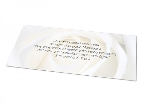 Cartes décès fleurs - Fond rose blanche